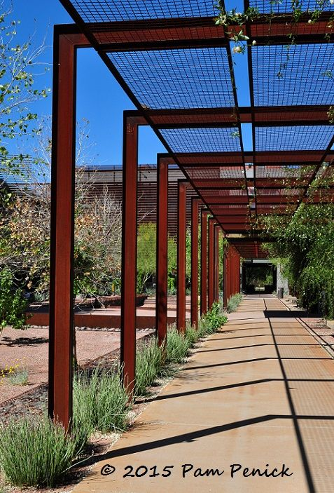Corten arbors at arizona state university polytechnic for Steel shade structure design