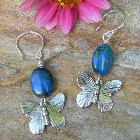Unique Beaded Periwinkle Seashell Coloring Page: Butterfly Earrings Handmade Jewelry Blue Beaded Earrings