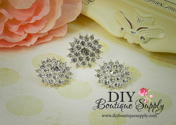 30mm Large Metal Rhinestone Button Crystal by DIYBoutiqueSupply, $5.45