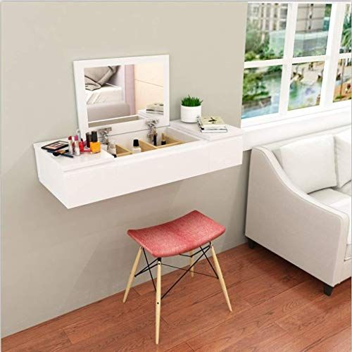 New Wall Mounted Makeup Cabinet Dressing Table Wall Shelf Floating Shelf Jewelry Cosmetic Storage Cabinet Living Room Bedroom Bedside Cabinet With Drawer Wooden In 2020 Small Dressing Rooms Dressing Table Shelves Bedroom
