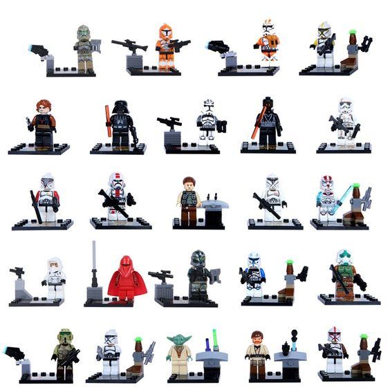 Star wars Lego set of 24 minifigures, Skywalker, Han Solo, Kylo Ren, Lego compatible by ActionFigureWorld on Etsy https://www.etsy.com/listing/457337730/star-wars-lego-set-of-24-minifigures