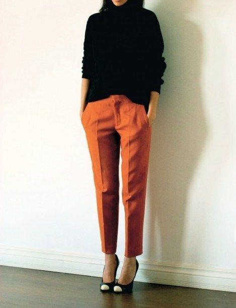 Rust-colored pants and captoed pumps...I love fall