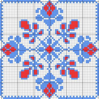 Flower tile, free chart by Journal des Demoiselles.  clear chart, no floss numbers needed.