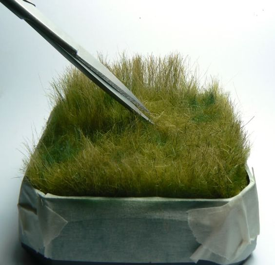 Grass - fur dyed with acrylic paint (1 part) and water (4 parts), brush out, trim