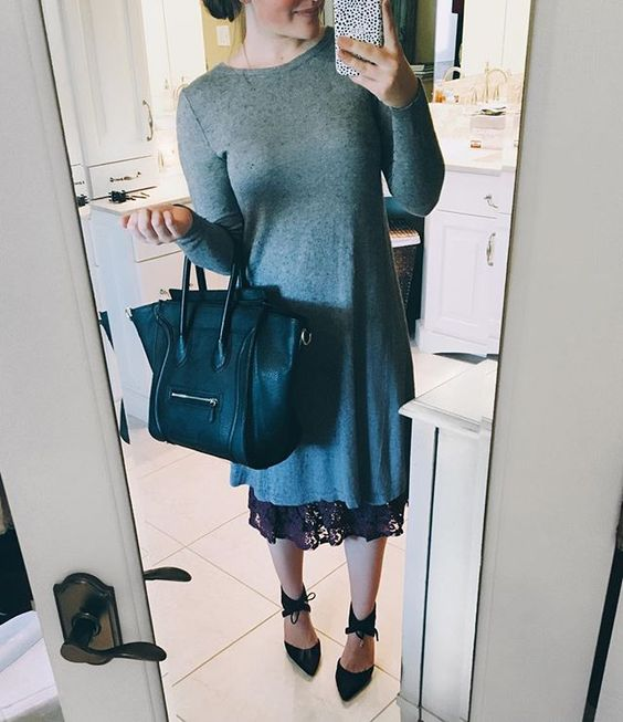This grey @forever21 dress decided to shrink about 4 inches in the dryer lol! Thank goodness for this @southernboutiquenc skirt extender! This is seriously a game changer. It comes in different colors and fabrics as well. :) I hope you're all having a great Thursday! It's 64 degrees here, and I'm enjoying it while it lasts!