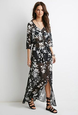 Buttoned Floral Maxi Dress | Forever 21 Canada