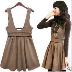 Online Shop 2014 Fashion U-neck Women Wool Dress Sleeveless Bow Pleated dress Plus Size Red/Black QY13022706 Aliexpress Mobile