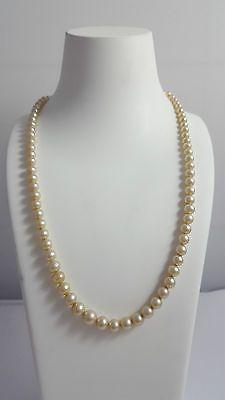 Vintage Perlenkette Verschluss 835 gestempelt mit Markasitbesatz 53 cm lang#M118