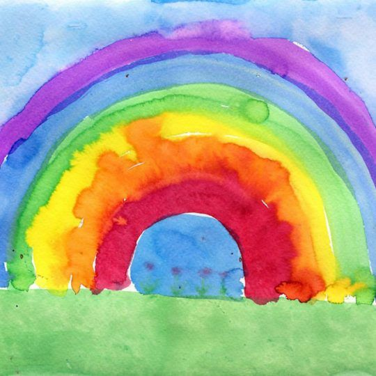 Rainbow Painting Liquid Watercolor Paint On Watercolor Paper To