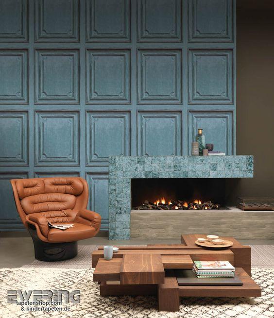 Mit dieser coolen Vintage Tapete in einem Meerblau lassen Sie den Anschein vieler Holztüren erwecken.