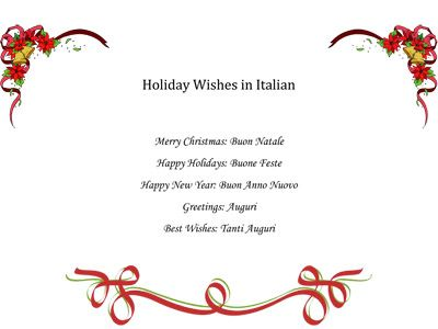 Free PDF Holiday Wishes In Italian
