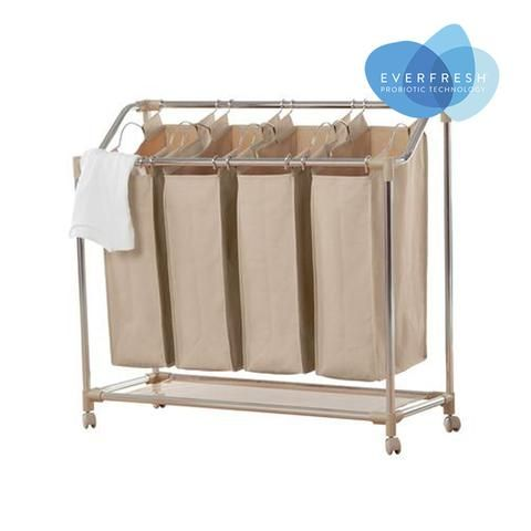 Rolling Quad Laundry Sorter With Everfresh Odor Control Style