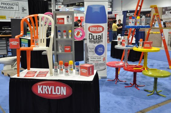 Krylon at The National Hardware Show 2014. Did you know Dual Superbond Paint + Primer sticks to multiple surfaces like melamine?