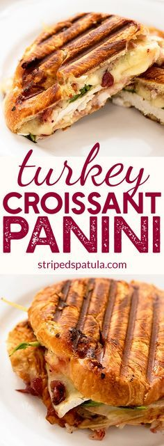 Turkey Croissant Panini | Thanksgiving Leftover Sandwich | Croissant Sandwich | Turkey Recipes | Thanksgiving Leftovers | Thanksgiving Leftover Recipes | Thanksgiving Leftover Ideas | #thanksgivingleftover #thanksgivingleftoverrecipes #croissantsandwich #sandwiches via @stripedspatula