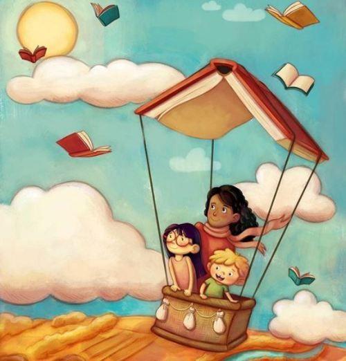El viaje con los libros se inicia en la infancia y no se acaba nunca (ilustración de Gladys Jose-Fabii)