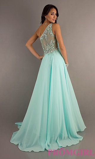 One Shoulder Prom Gown with Sheer Back by Tiffany Designs at ...