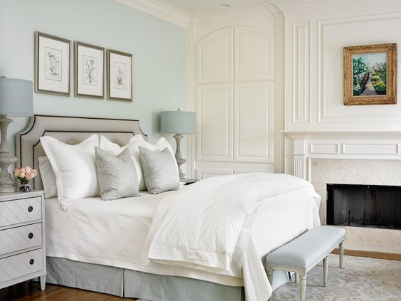 Blue and Gray Bedrooms, Transitional, bedroom, Farrow and Ball Pale Powder, Lebey LTD Interiors