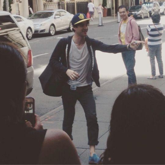 Darren Criss arriving at the Belasco Theatre