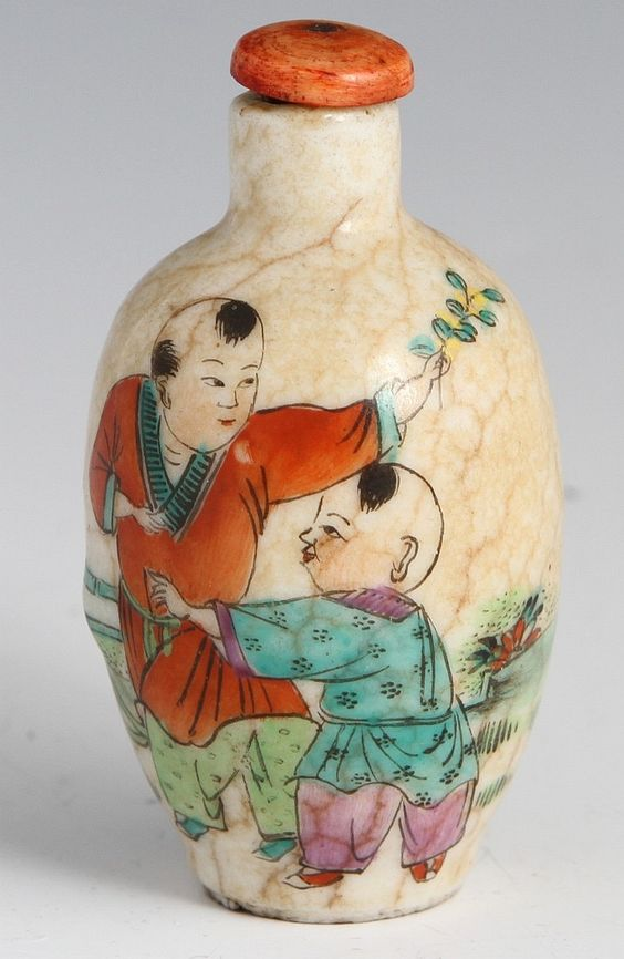 19TH C CHINESE PORCELAIN SNUFF BOTTLE