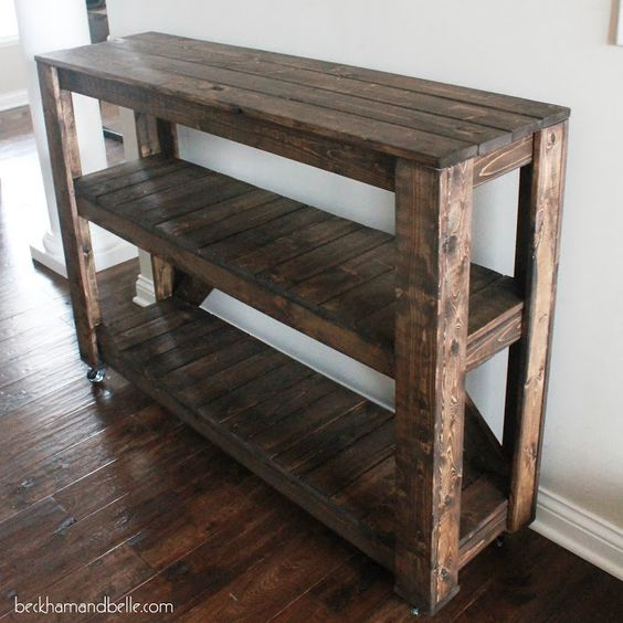 Super Easy DIY Wooden Entryway Console Table:
