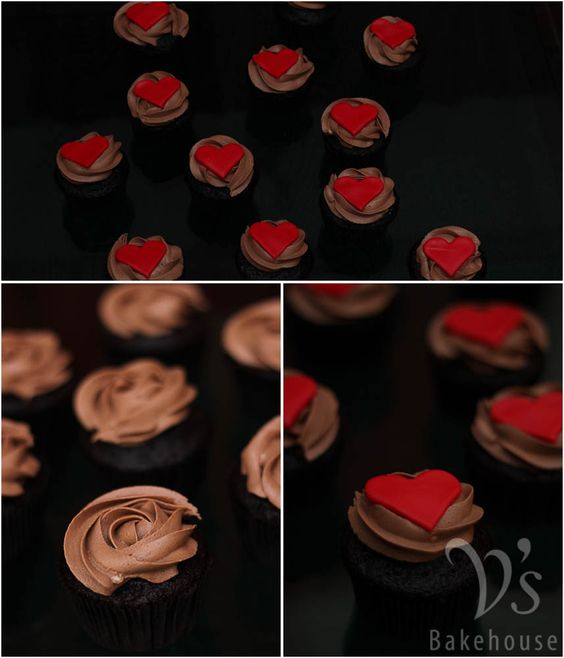 Chocolate cupcakes  frosted with chocolate buttercream and topped with 2D fondant hearts