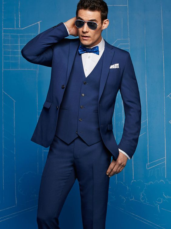 EGARA BLUE VESTED EXTREME SLIM FIT SUIT, Men's Wearhouse | Threads