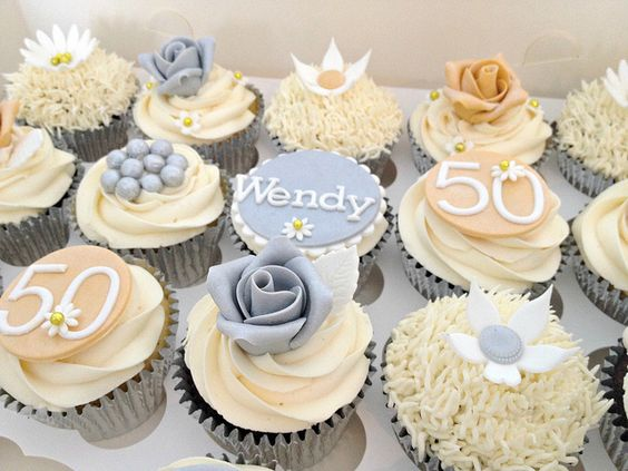 Silver & Gold 50th Birthday Cupcakes | Flickr - Photo Sharing!
