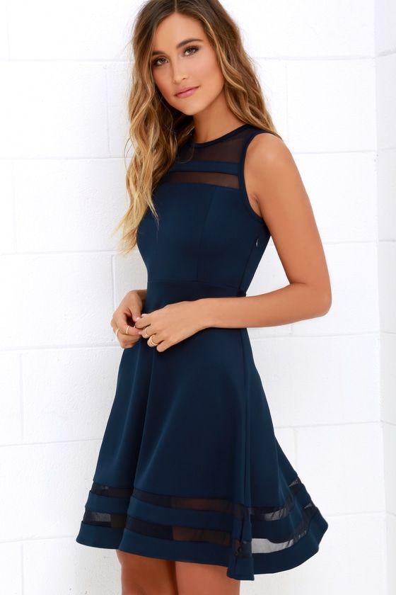 Navy Blue Mesh Dress Navy Homecoming Dress 48 00 Blue Dresses Navy Homecoming Dress Women Dress Online