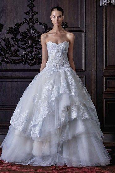 vestido de noiva POWDER princesa com saia em camadas de tule de monique lhuiller primavera 2016