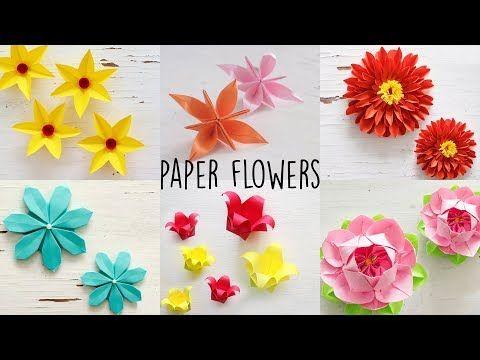 6 Easy Paper Flowers Flower Making Diy Youtube Paper
