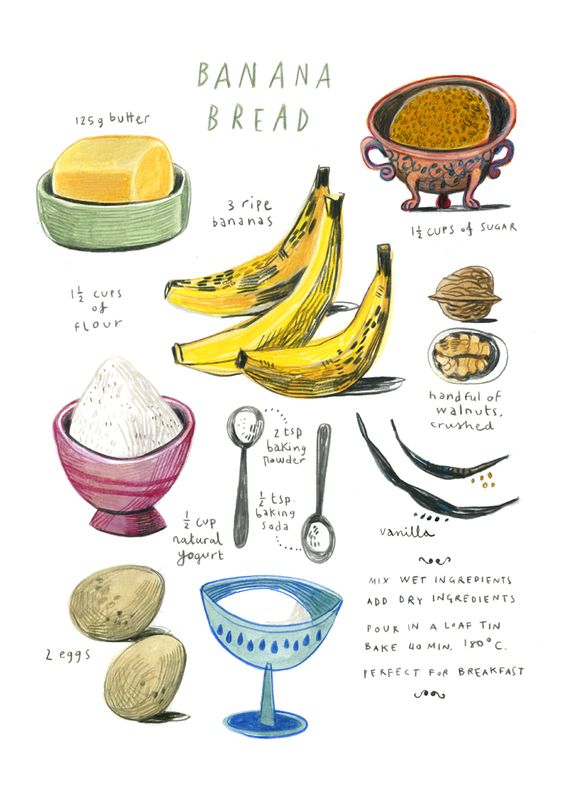 illustrated banana bread recipe... click through for a thoroughly wonderful artist blog