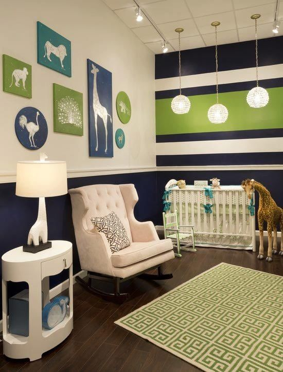 """Bought different blue for this room. Paint chair rail down blue. Gages husband will add chair rail in brown or cream like walls. Add very thick horizontal line of green in a """"U"""" around room. Slightly above and below green add thinner line of blue. Add very thin outline of yellow to one side of blue (so not as boyish). Do Not paint walls where crib and counter will be."""