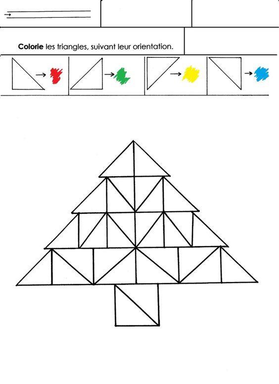 Discriminer les 4 orientations de triangles rectangles formant un sapin. Colorier ces triangles selon leur orientation, en respectant un codage de couleurs choisi.  - sapintriangles.docx  - sapintriangles.pdf