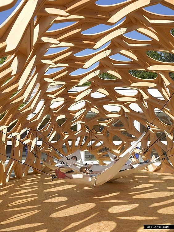 A cocoon-like temporary summer pavilion in Saarbrücken, Germany, is the result of a research project on biomimicry conducted at the city's architecture school. Biomimicry, a design approach that takes nature as its guiding principle, is the specialism of Professor Göran Pohl, who headed the BOWOOSS research project.: