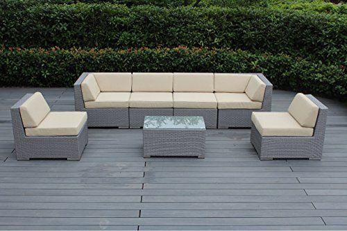 Ohana Depot Outdoor Patio Wicker Furniture Sectional Conversation