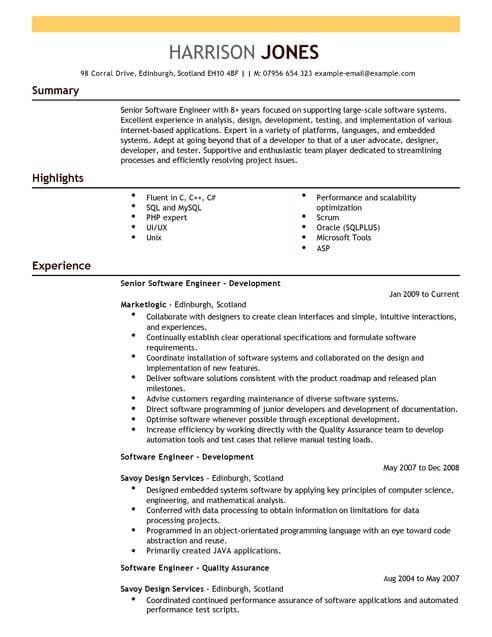 Engineering Cv Templates Cv Samples Examples Resume Software Software Engineer Resume Design Template