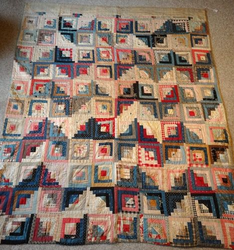 1800s Quilts | Antique 1800s Log Cabin Quilt Calico Indigo Blue Turkey Red Mourning ...