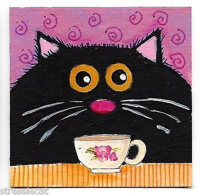 Original Acrylic Painting Whimsical Fat Cat Art Black Cat Cup Tea 2 x 2 Inches | eBay