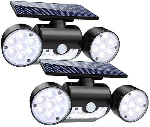 Luz Solar Exterior Ultra Potente Led Foco Solar Con Sensor De Movimiento Doble Cabeza Ip65 I En 2020 Luces De Seguridad Focos Luces Solares
