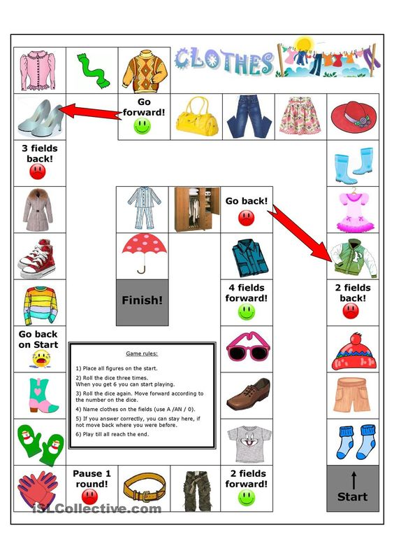 and more board games worksheets clothes printable worksheets game esl ...