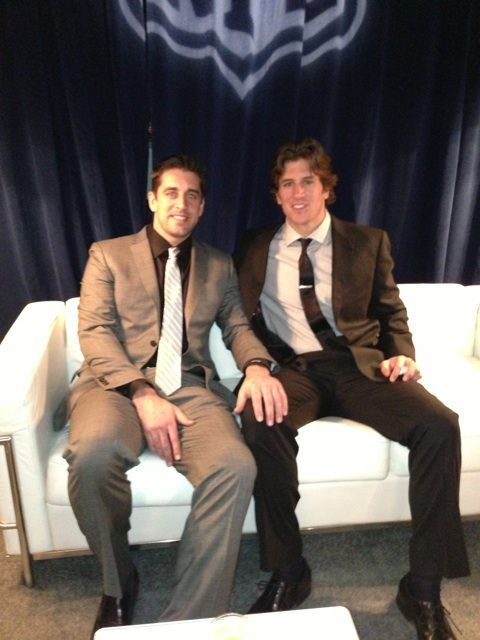 Aaron Rodgers, and his younger brother, Jordan. those are some gooood genes.