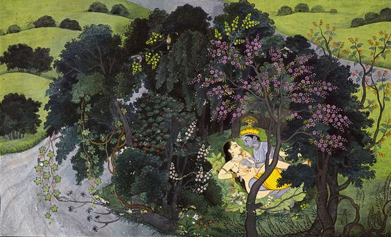 1. Leaf from Gita Govinda series Kangra School. Himachal Pradesh, India Circa 1775 - 1780 Opaque watercolors & gold on paper 6 7/8 x 10 5/8 in. (folio)