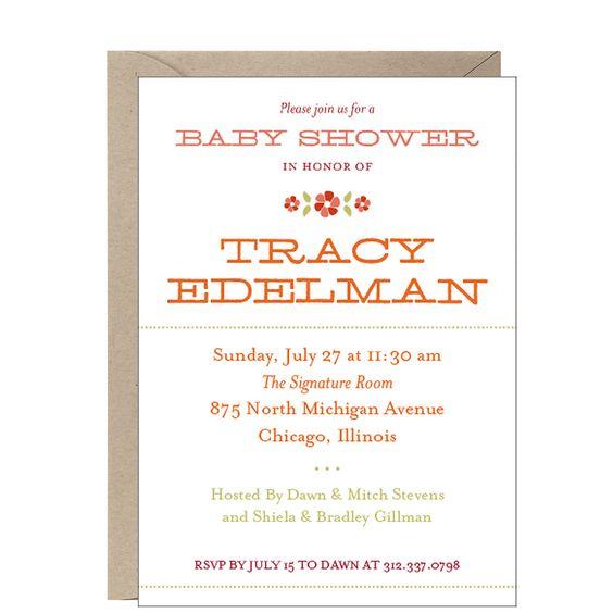 Flower Motif Baby Shower Invitation on paper-source