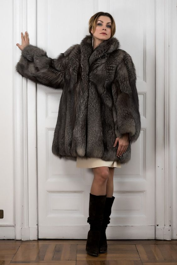 Fuchs Pelzmantel Fox Fur Coat Pelisse Fourrure Renard Pelliccia Volpe Silver | eBay