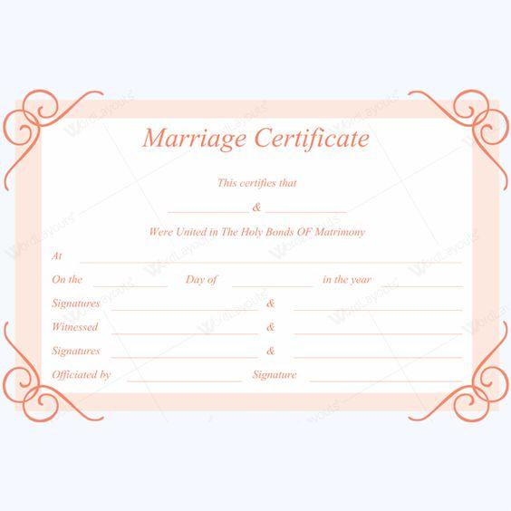 Sample Of Marriage Certificate #weddingtemplate #marriage - marriage certificate template