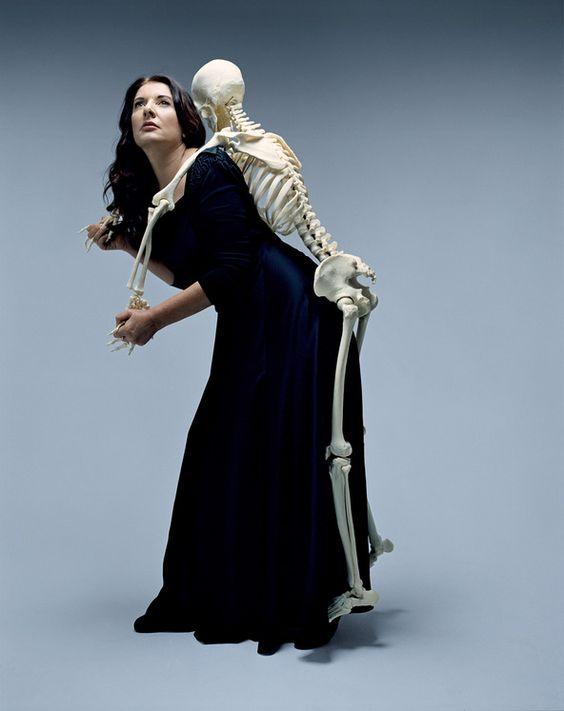 Marina abramovic moma public and a skeleton for Marina performance