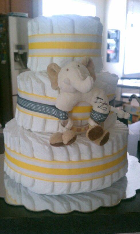 Yellow & grey Elephant diaper