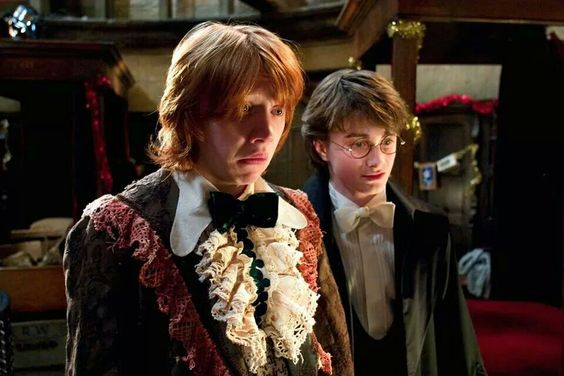 Ron and Harry get ready for the Yule Ball