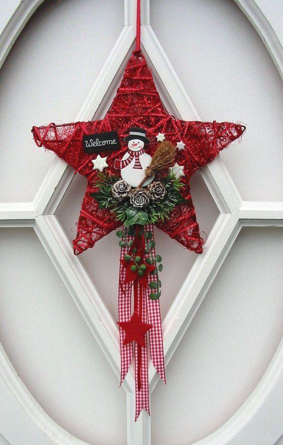t rdeko schneemann sisalstern t rkranz dekoh nger winter weihnachten rot 25cm ebay. Black Bedroom Furniture Sets. Home Design Ideas