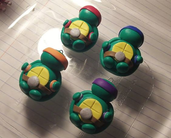 Polymer Clay ninja turtles before baking front view